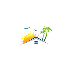 villa house tropic sunset vector logo