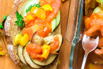 Tapas roasted vegetables and bread snack