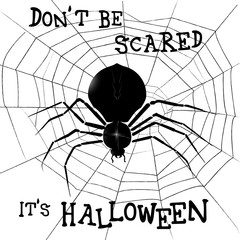 Big terrifying black Spider on it's web. Halloween vector illutration