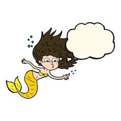 cartoon mermaid with thought bubble