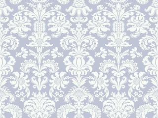 Vector seamless floral damask pattern blue light and white