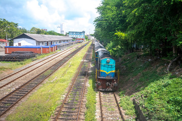 Sri Lankan train on railway track in Colombo
