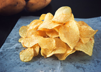 homemade flavored potato chips pile