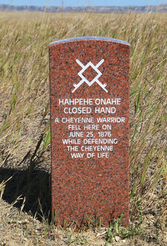 Indian warrior marker stone at Little Bighorn Battlefield Nation
