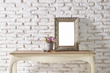 brick wall interior with frame concept
