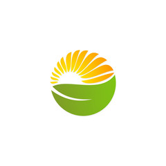 green leaf solar sun nature energy logo