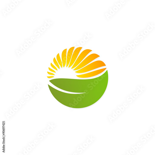 quotgreen leaf solar sun nature energy logoquot stock image and
