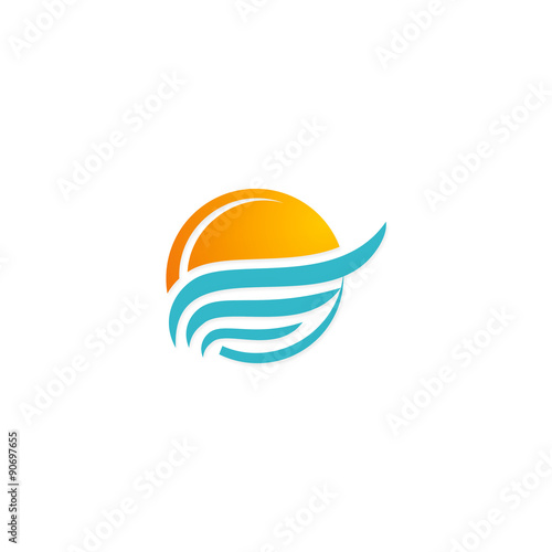 """sunset beach water abstract icon vector logo"" Stock image ..."