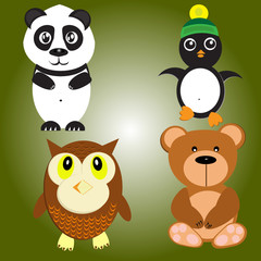 Vector illustration of diffrent animals such as penguin, owl, bear, panda on a green background.