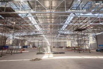 Building Inside Steel Framework on going construction