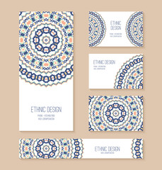 Set of business card, banner, invitation card templates.