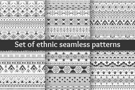 Set of six ethnic seamless patterns.