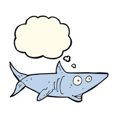 cartoon happy shark with thought bubble