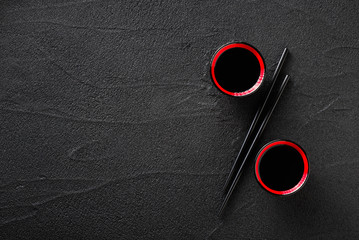 Poster Sushi bar Chopsticks and bowl with soy sauce, discount concept