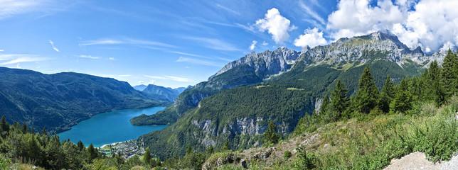 Fotobehang Nachtblauw Landscape of the Molveno Lake, Trentino - Italy