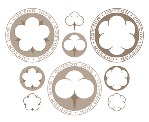 Cotton. Isolated labels and icons on white background