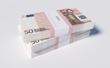 Packets of 50 Euro bills