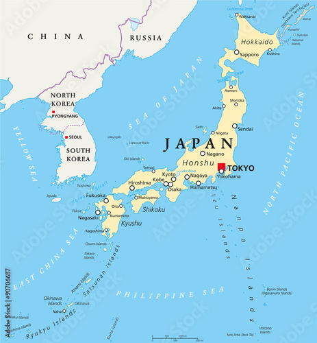 Japan Political Map With Capital Tokyo National Borders And - China political map in english