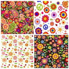 Colorful wallpapers with funny absatrct flowers and paisley