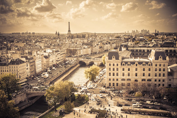 Vintage style image of Paris France from above
