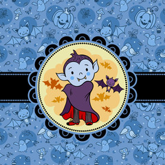 Halloween vector card with cartoon vampire and bat.