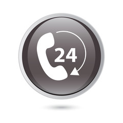 Telephone receiver vector icon. phone icon. black button