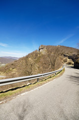 Scenic view of a mountain road in Urbasa natural park in Navarre, Spain.