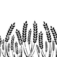 Vector seamless horizontal background with isolated ear of wheat