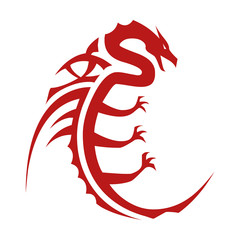 Chinese Dragon character symbol flat icon for apps and websites