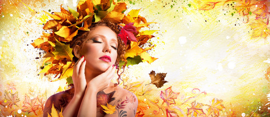Fashion Art in Autumn - Artistic Makeup With Hairstyle Nature