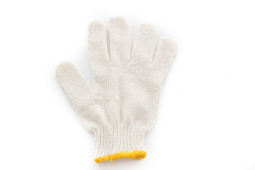 white protective gloves isolate on white background