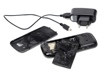 mobile phone battery caught on fire due to overheat and short circuit