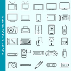 Thin line electronic devices vector icons set