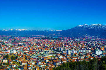 aerail view of macedonian city ohrid, which is famous for its unesco listed historical center and beautiful lake separating macedonia from albania.