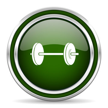 fitness green glossy web icon