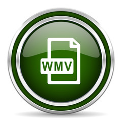 wmv file green glossy web icon