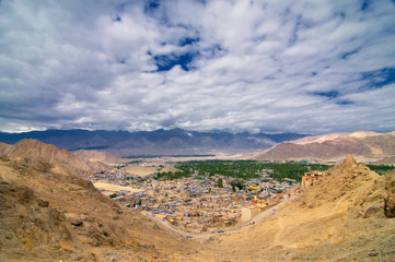 Leh city, viewing from Leh palace in  Jammu and Kashmir State, India