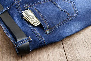 jeans pocket with money