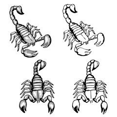 Set of hand drawn doodle scorpions