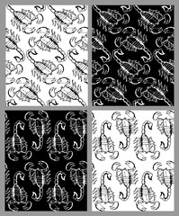 Set of seamless hand drawn patterns with scorpions