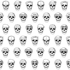 Seamless pattern hand drawn skulls with hats