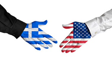 Greece and United States leaders shaking hands on a deal agreement