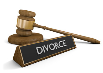Court gavel concept for divorce and family law