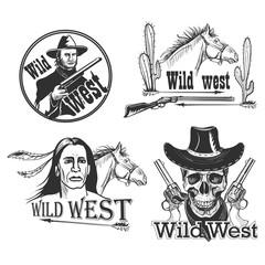 Set of Wild west emblems
