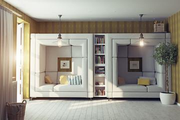 living room interior.3d concept
