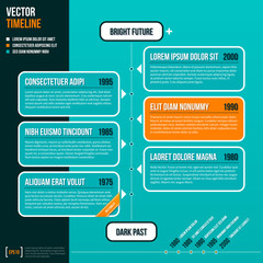 Vector timeline template on turquoise background. EPS10.