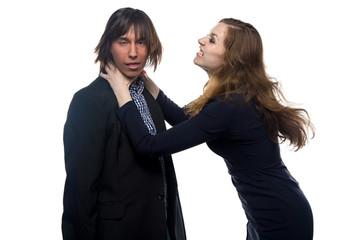 Aggressive woman and man