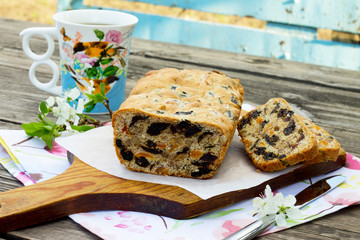 Homemade muffins with dried fruit and nuts