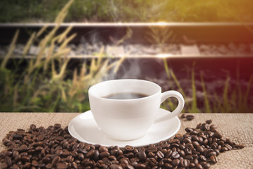 Hot Coffee with outdoor background