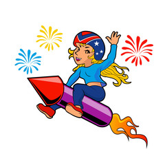Girl riding a rocket firework